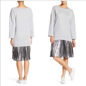 Know One Cares Metallic Sweatshirt Twofer Dress